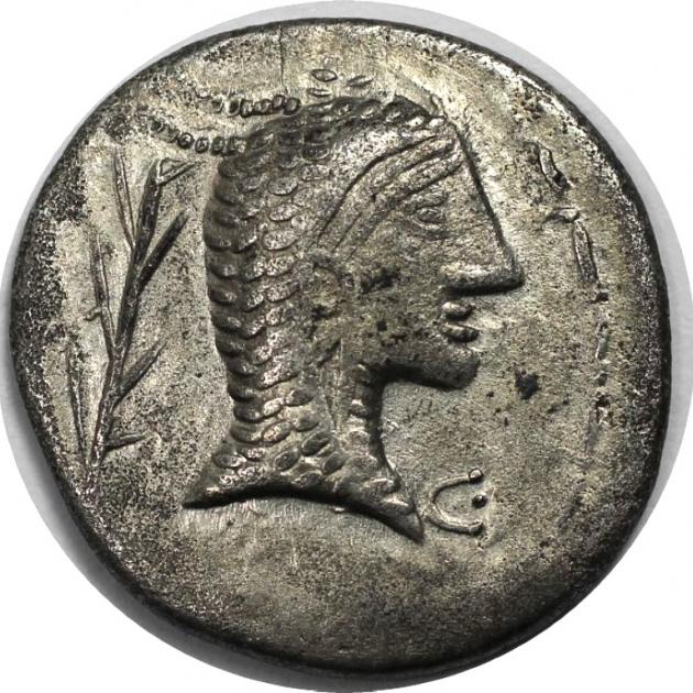 AR-Denar 1. Jahr v. Chr avers